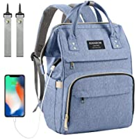 Baby Changing Bag Backpack, Nappy Bag Backpack with USB Charging Port, Diaper Bag Backpack with Insulated Pockets Stroller Straps (Blue)