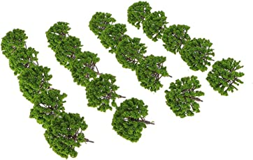 Anbau Pack of 20pcs Painted Model Trees Building Train Railway Layout Scenery DIY 1:75 SA80-D008