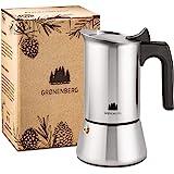 Groenenberg Cafetera Italiana inducción, 6 Tazas (300 ml) | Cafetera Moka de acero inoxidable (inox) | Cafetera Espresso manu