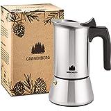 Groenenberg Espresso Maker 2 kopjes (100 ml) I Roestvrij staal I Moka express incl. reserveafdichting van siliconen en step-b