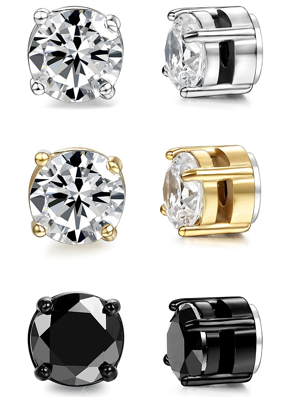 BESTEEL Jewelry 3 Pairs Stainless Steel Magnetic Stud Women and Mens Earrings Cubic Zirconia 6mm 8mm