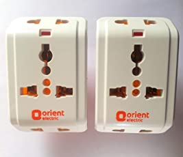 Orient Electric 3 pin Multi plug Travel Adapter 10 Amp Pack of 2