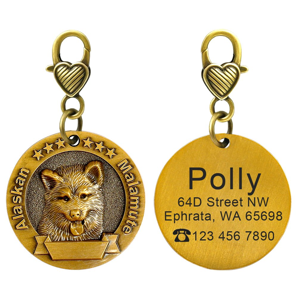Didog Custom Engraved Dog ID Tags Matching with 18 Breeds 3D Effect,Personalized Memorial Dog Tags for Alaskan Malamute