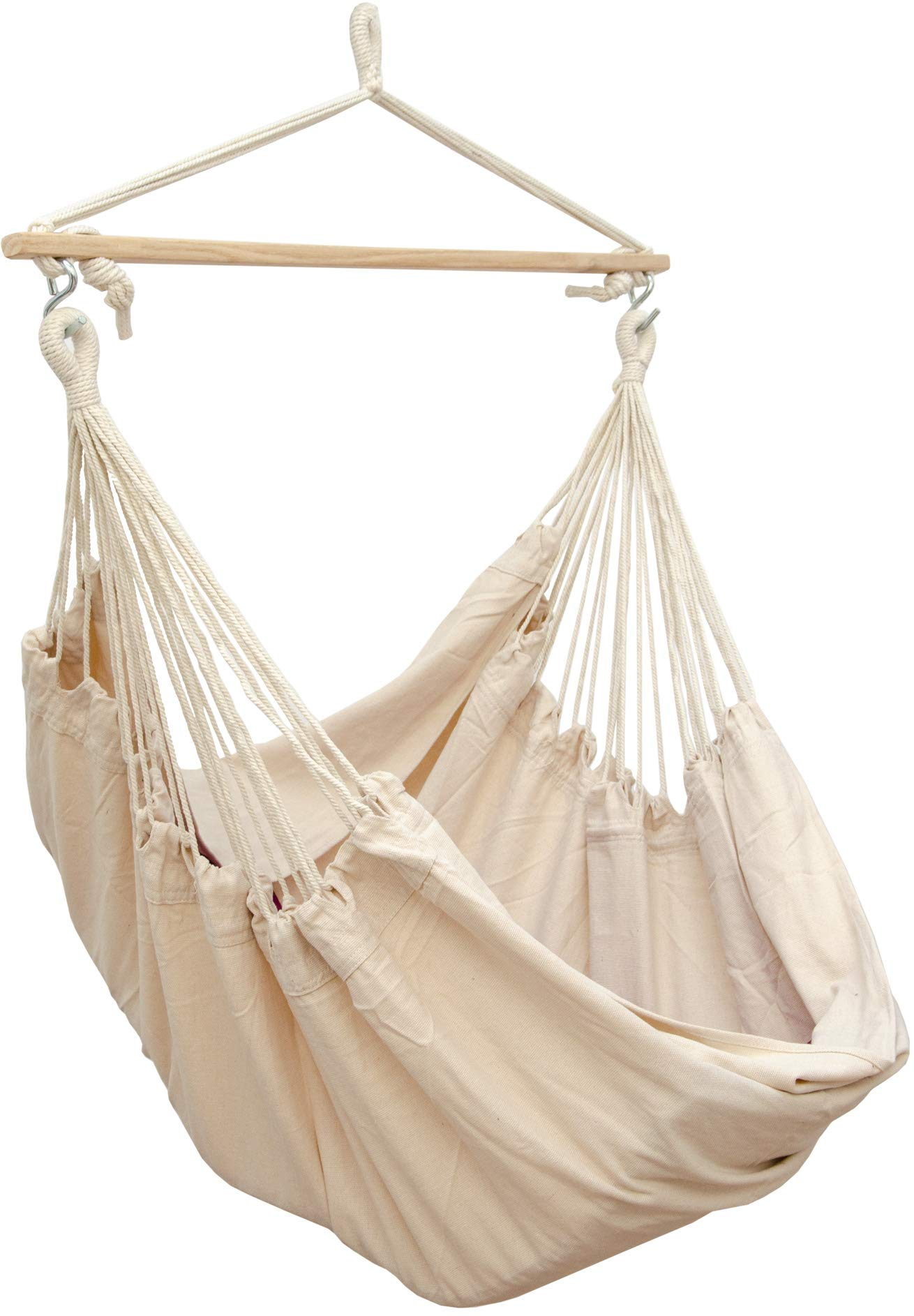 AMANKA Innovative XXL Swing Chair 185x130cm Hanging Seat made of cloth Beige AMANKA SAFER: INNOVATIVE ANTI-SLIP SYSTEM - no risk that the hammock slips off the spreader-bar: the ropes are firmly fixed to the wooden bar and the large canvas is hung with two sturdy metal hooks EXTRA LARGE PIECE OF CLOTH - the strong canvas is made of natural cotton. It is large approx. 185 x 130 cm, so there is plenty of space to sit and even lie down, both alone and in 2 people - suitable for adults and kids SINGLE-SPREADER BAR MADE OF WOOD - the longer the spreader bar, the more comfortable the hammock. Our four-square bar is 115 cm long! It will soon become your favorite spot for reading, dreaming and playing - perfect even as a children's swing 1