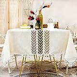 SUNBEAUTY Nappe Carre Impermeable 140x140 Table Cloth Waterproof Coton Lin Tablecloth Square Tassel Nappe Elegante pour Table