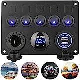 Schakelaar met 5 versnellingen, ON-OFF tuimelschakelaar, paneel, dubbele USB-oplader, LED-voltmeter, 12 V stopcontact voor 12