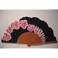 """Ventaglio Spagnolo/Ventaglio dipinto a mano/Ventaglio flamenco/Ventaglio di legno""""Rose di Granville"""""""