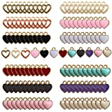 120PCS Mixed Color Love Heart Enamel Charms Beads Dangle Pendants Hawaii Style Accessories for Necklace Bracelet Jewelry Maki