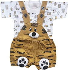 BabyMart Baby Girls Baby Boys High Quality Printed Cotton Dungaree Set with T-Shirt (Print of The t-Shirt Might Differ)