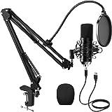 PREUP Microfono a Condensatore, Microfono di Registrazione per PC con Braccio Boom e Supporto Antiurto,Microfono USB Professi
