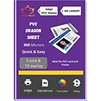 True-Ally PVC Lamination Dragon Sheet A4 Size 800 Micron for PVC Aadhar , Photos, ID card (Set of 5 Cores and 10…