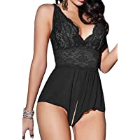 RZS Womens Sexy Lingerie Strap Backless Teddy Dress Comfortable Babydoll Set Plus Size Nightwear