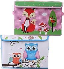 UberLyfe Blue & Pink Foldable Storage and Toy Box - Fox & Owl Design (KSB-996-1082)