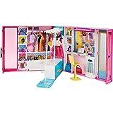 Barbie Fashionistas Le Dressing Deluxe pour poupée, transportable, avec 4 tenues et plus de 25 accessoires, emballage fermé,