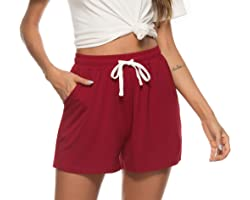 Vlazom Women's Pajama Bottoms Soft Sleeping Shorts Cotton Lounge Casual Pants for Sleep Gym Running