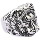 Amody Titanio Anello Uomo Lion Head Argento Oro Anelli Acciaio Vintage Taglia 17-27