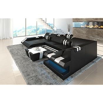 Sofa Dreams Apollonia U Form Paysage En Cuir Noir Blanc Amazon Fr