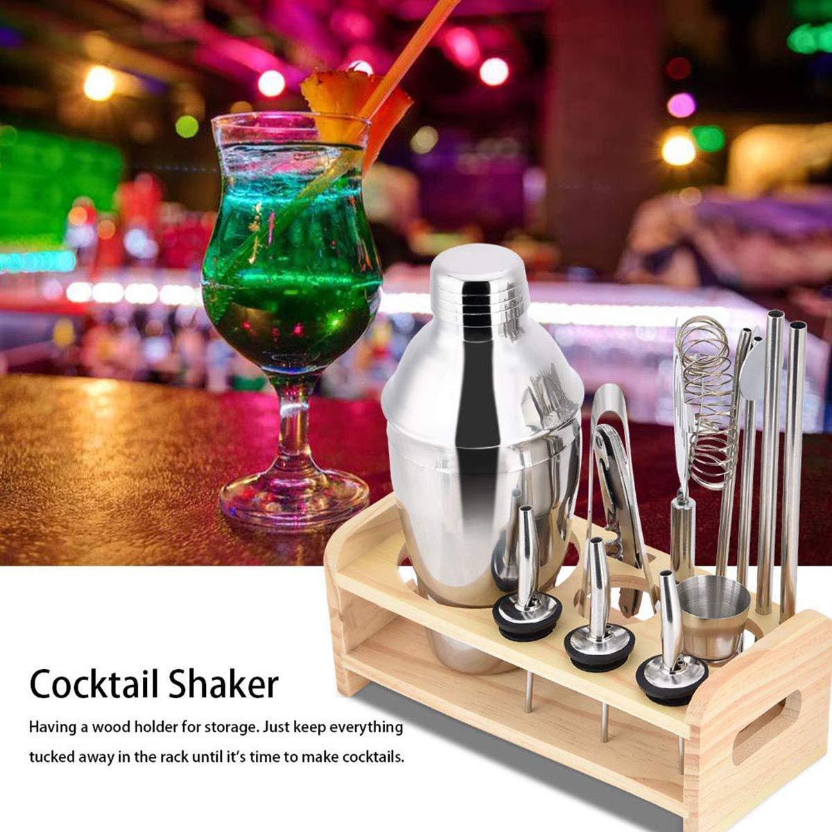 Lychee-Professionelles-Edelstahl-Cocktailshaker12-TLGPremium-Cocktail-Shaker-SetCocktailshakerPerfektes-Zuhause-und-Bar-Kit-Geschenk-Set-mit-9-Whisky-Steinen055ML