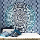 Eyes of India königsblau Ombre Mandala Elefant Tagesdecke Strand unkonventionell Boho indisch - blau #1, 84 X 94 in. (213 X 238 cm)