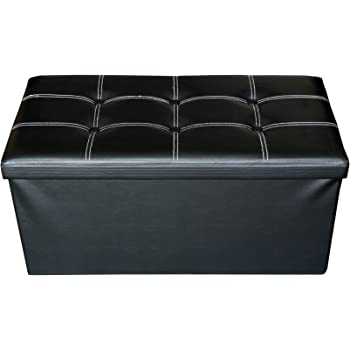 Mobili Rebecca Pouf Coffre de Rangement Banc Rectangle Stokage Noir Design  Contemporain Salon Chembre 38 x a44191e76c4a