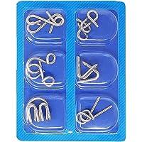 Seven Moon 6Pcs Set Metal Interlocking Montessori Puzzle Wire IQ Mind Brain Teaser Puzzles Children Adults Interactive…