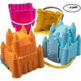 Godets de balais Toy Castle, Sandales de sable ToyZe®, balai de plage, paquets de moules à sable, paquet de 8 po de 4