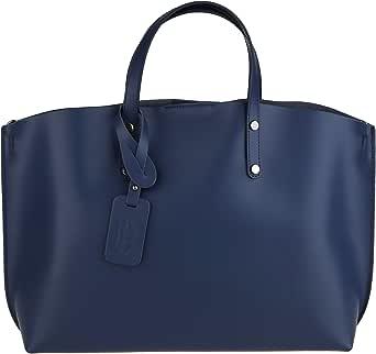 Chicca Borse Handbag Borsa a Mano da Donna in Vera Pelle Made in Italy 47x30x14 Cm