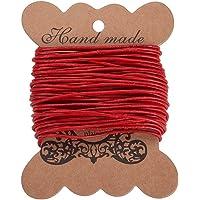 PandaHall Elite- 10m Cordon en Cuir de Vache pour DIY Bijoux et Fabrication de Collier et Bracelet, Rouge, 1.5mm