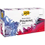 Kreul Solo Goya 87230 Ready Mixed Pouring Set, Pre-Mixed Pouring Acrylic Paint, 6 Bottles of 80 ml in White, Carmine Red, Mag