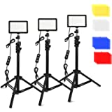 3 Packs 70 LED Video Light with Adjustable Tripod Stand/Color Filters, Obeamiu 5600K USB Studio Lighting Kit for Tablet/Low A