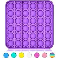Boniry Autism Special Needs Pop It Push Pop Silicone Bubble Fidget Square Sensory Toy for Kids and Adults (Purple)