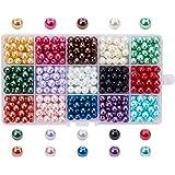 PandaHall 510 PCS 15 Colori 8mm Perline di Vetro Perline Colorate Perline Rotondo per Fare Gioielli Fai da Te, Colore Misto,