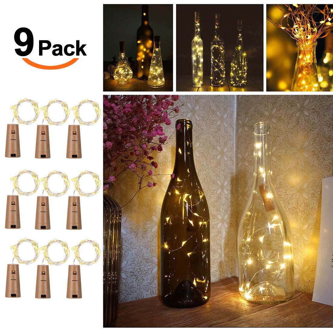 9x 20 Led Flaschen Licht Flaschenlichter Lichterketten Nacht Licht