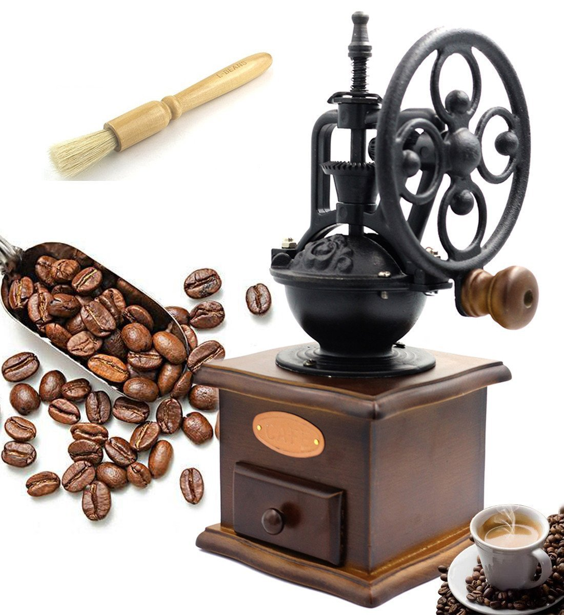 Fecihor Kaffeemühle Manuell Holz Hand Kaffeemühlen Retro Keramikmahlwerk Mit Reinigungsbürste