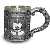 Tankard ''Knight Templar'' - Ornate Crusader Mug (0,35l) - Height 11 cm - Fantasy Medieval Middle Ages Decoration