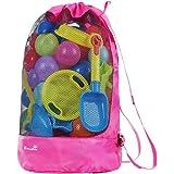 EocuSun Strandspielzeug Tasche Strandtasche Mesh Beach Bag Sandspielzeug Wasserspielzeug Rücksack Beutel für Jungen Mädchen B