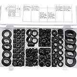 MEESOGA Rubberen ringen rubberen sluitringen - 180Pack O-ringen assortiment kabeltules set van NBR-rubber, rubberen afdichtri
