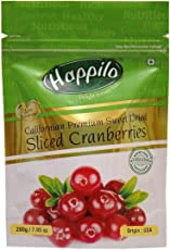 Happilo Premium Californian Sliced Dried and Sweet Cranberries, 200g (Pack of 5)