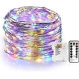 Guirnalda Luces Exterior 10M ,Cadena de Luces 100 LEDS con Pilas Luz Cálida Impermeable Alambre de Cobre de 8 Modos de Luz, c