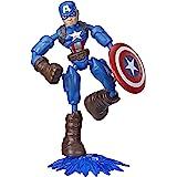 Marvel Avengers Bend and Flex-actiefiguur, flexibele Captain America-figuur van 15 cm, met blastaccessoire, voor kinderen van