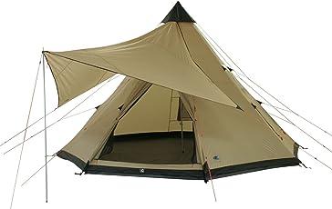 10T Camping-Zelt Shoshone 500 Tipi mit Schlafbereich für 5 - 10 Personen Outdoor Idianerzelt Familienzelt mit Wohnraum, Sonnensegel, eingenähte Bodenwanne, wasserdichtes Pyramidenzelt mit 5000mm Wassersäule