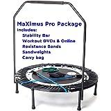 MaXimus Pro opvouwbare trampoline, nr. 1 mini-trampoline voor binnen, met draagstang voor volwassenen, beste fitnessstudio vo