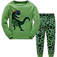 Boys Pyjamas Set Dinosaur Glow in The Dark Toddler Clothes Kids Pjs 100% Cotton Nightwear Long Sleeve Sleepwear 2 Piece Outfit 1 to 10 Years