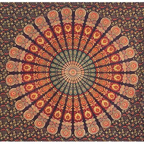 Verde Arancione piuma del pavone Mandala Hippie