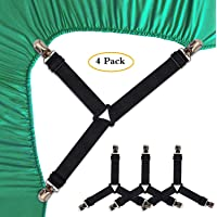HOME CUBE Triangle Elastic and Metal Mattress Corner Clips 3 Way Fitted Bedsheet Fastener Suspenders Grippers for Mattress Covers Sofa Cushion (Standard, Random Colour) - Pack of 4