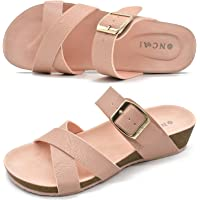 ONCAI Women's Platform Sandals,Fashion Criss Cross Open Toe Beach Cork Wedge Sandals-Summer Slip-on Leather Flatform…