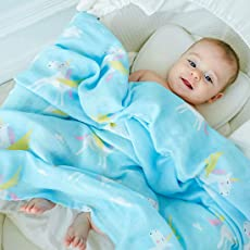 Rachna's Double Gauze Happy Unicorn Muslin Square Bamboo Cotton Swaddle Wrapper Baby Blanket - 18403 - Blue - 120CMS x 120CMS
