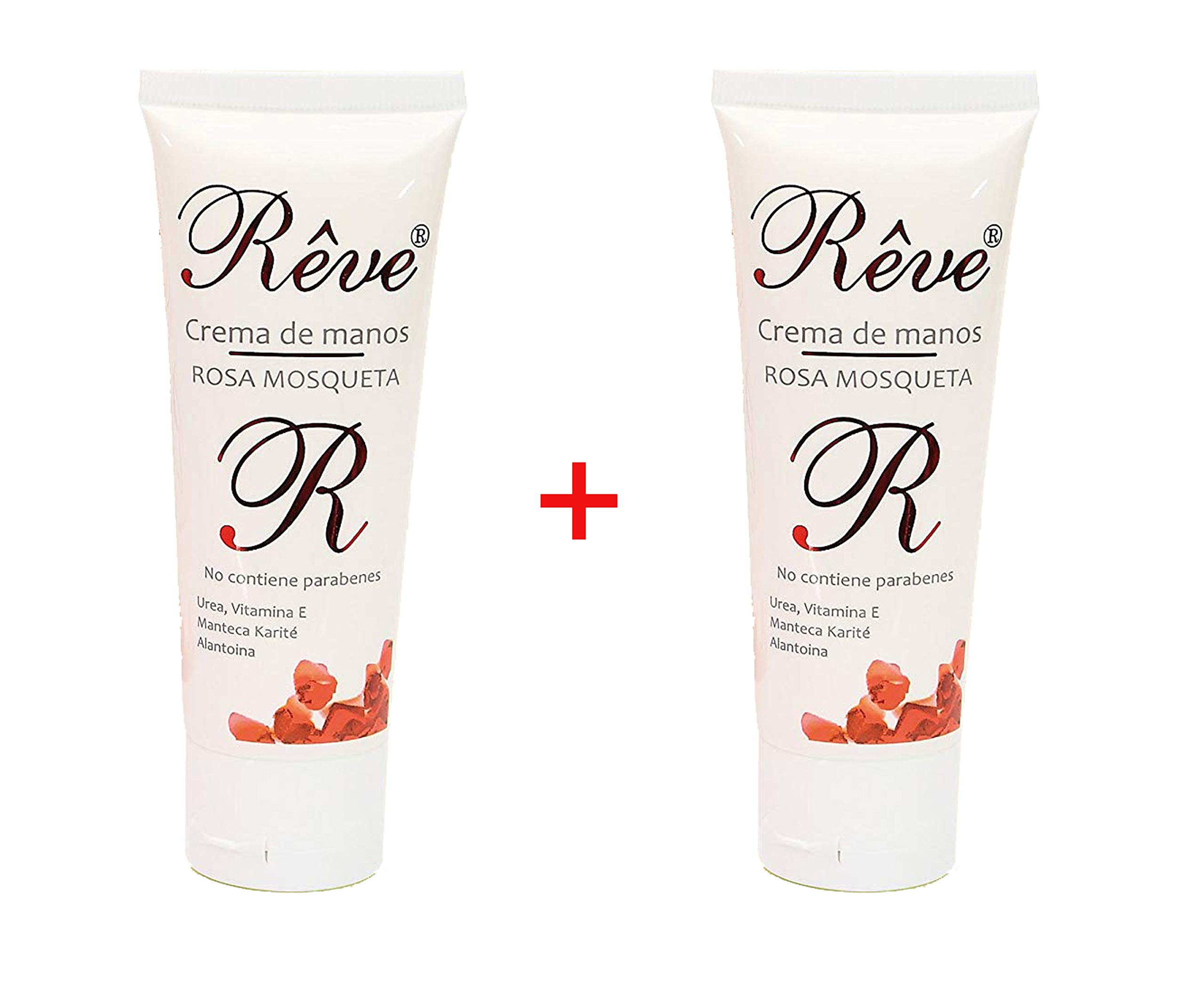 REVE Crema de Manos Rosa Mosqueta (Pack 2 Uds de 50 ml) Enriquecida con Urea, Vitamina E, Karité y Alantoina. Rápida…