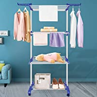 Innotic Clothes Drying Rack Folding Clothes Rail 3 Tier Clothes Horses Rack Stainless Steel Laundry Garment Dryer Stand…