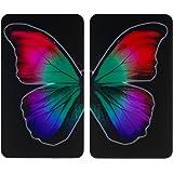 WENKO Plaque de protection en verre universel Papillon Nocturne - set de 2, pour tous les types de cuisinières, Verre trempé,
